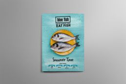 restaurant menu design Blue Fish Darling Harbour Summer Menu Design Cover