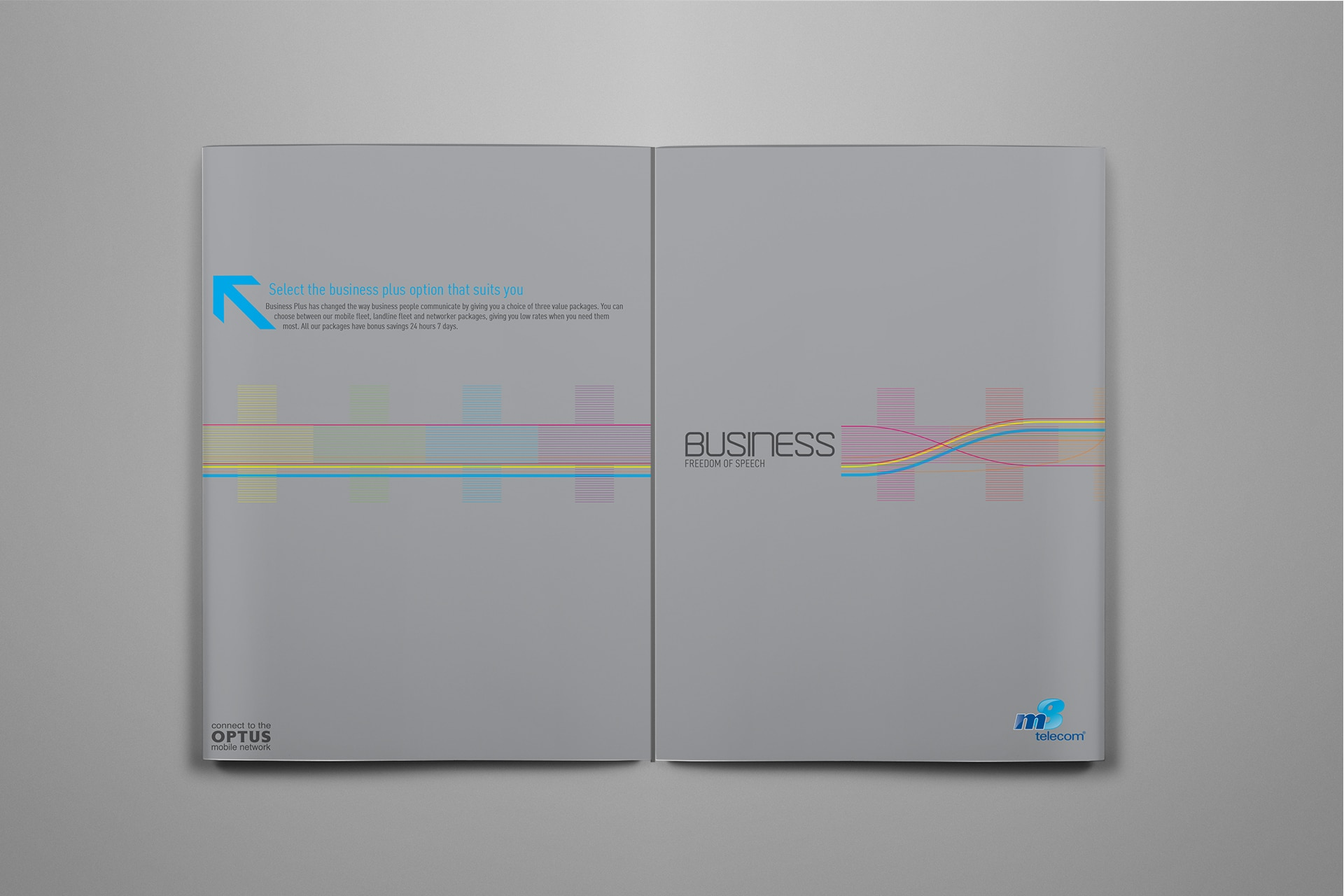 M8 Telecom Brochure Design Double Gate Fold